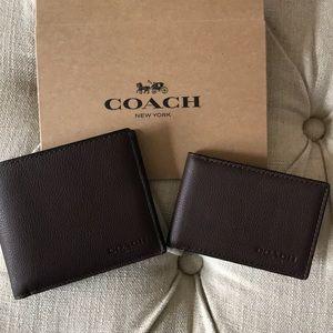 NWT- Men's Coach mahogany wallet